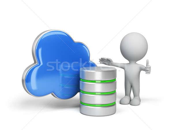 Gegevensopslag gegevens wolk 3D afbeelding witte Stockfoto © AlexMas