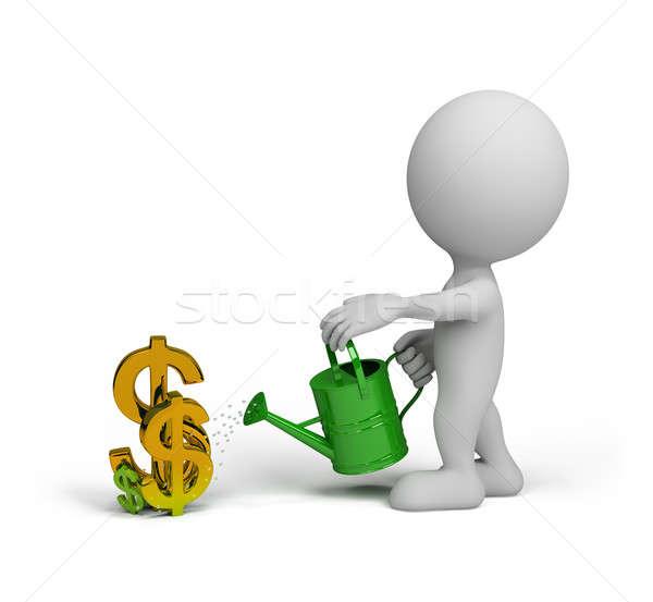 Stockfoto: Geheime · succes · 3d · persoon · dollar · gieter