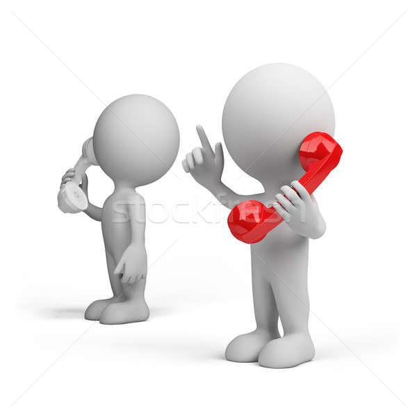 Telefon párbeszéd főnök 3D kép fehér Stock fotó © AlexMas
