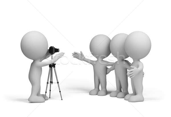 Amigos fotógrafo três 3D imagem branco Foto stock © AlexMas