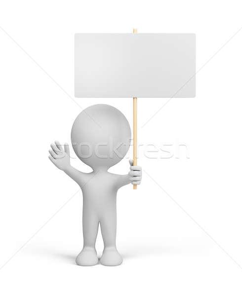 3d kişi reklam duyuru eller 3D görüntü Stok fotoğraf © AlexMas