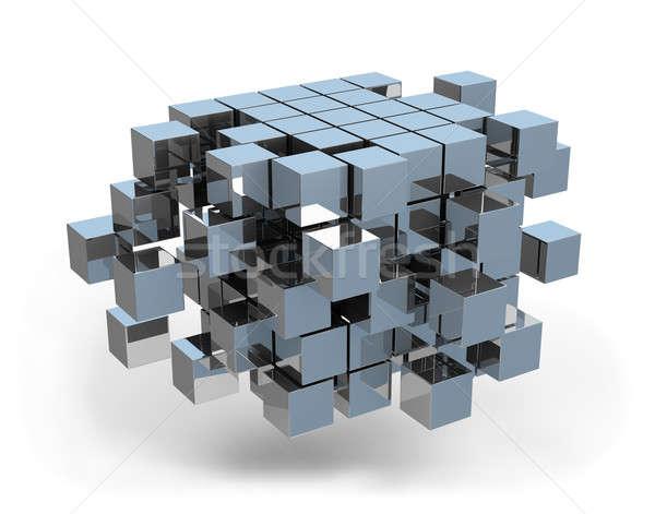 3D küp mimari dizayn iş görüntü Stok fotoğraf © AlexMas
