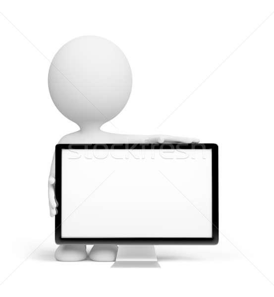 3 ª persona tv pie 3D imagen blanco Foto stock © AlexMas