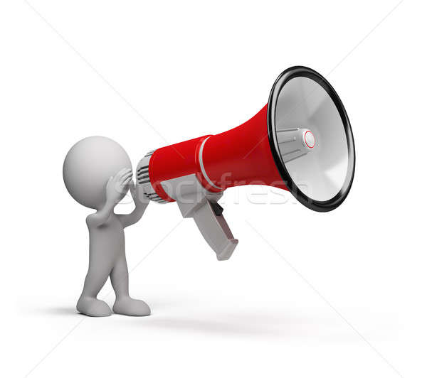 3D person and a big megaphone  Stock photo © AlexMas