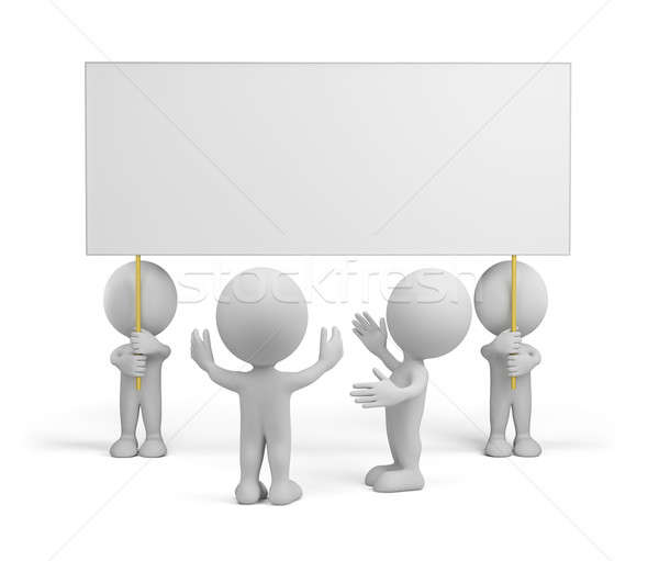 3d people with advertising Stock photo © AlexMas