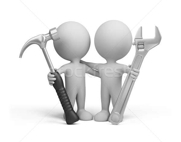 3d persona due persone strumenti mani 3D immagine Foto d'archivio © AlexMas