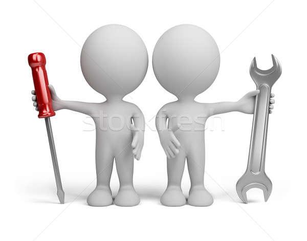 Foto stock: 3 · ª · persona · dos · herramientas · manos · 3D · imagen