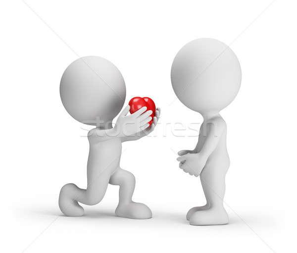Oferta małżeństwa człowiek strony serca umiłowany Zdjęcia stock © AlexMas