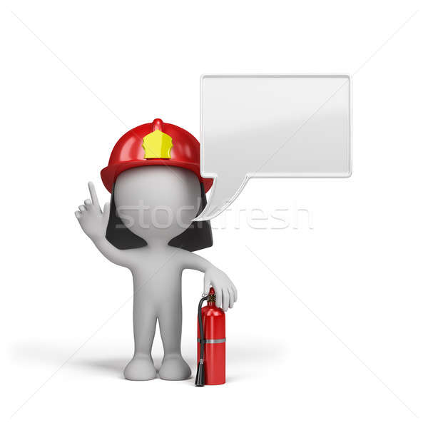 Firefighter with a red fire extinguisher Stock photo © AlexMas