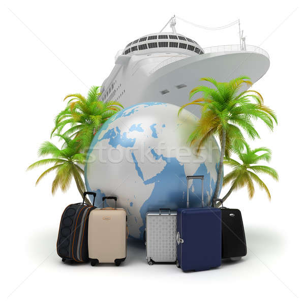 Utazás földgömb bőröndök pálmafák hajó 3D Stock fotó © AlexMas