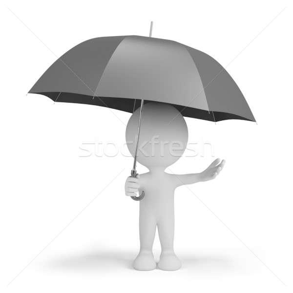 Stock fotó: 3d · személy · esernyő · rejtőzködik · eső · 3D · kép