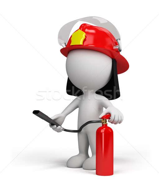 3d kişi itfaiyeci kask kırmızı yangın söndürücü Stok fotoğraf © AlexMas