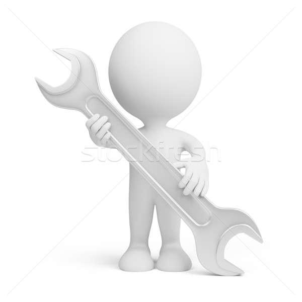 3d kişi İngiliz anahtarı 3d man ayakta çelik 3D Stok fotoğraf © AlexMas