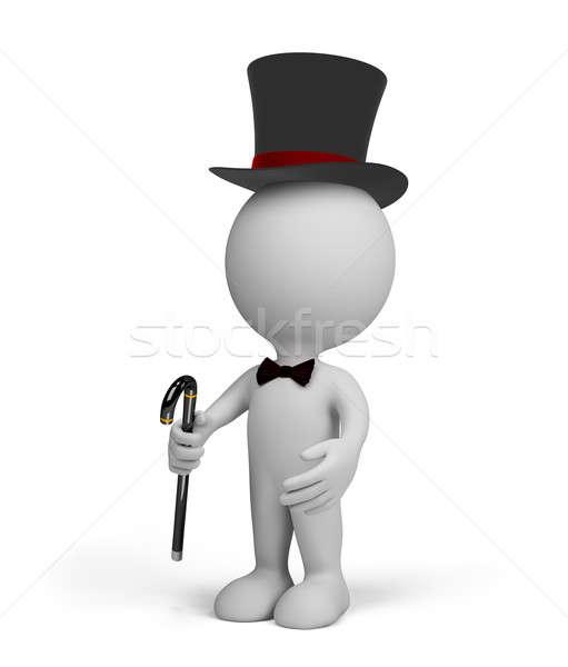 3d személy úriember fekete felső kalap sétapálca Stock fotó © AlexMas