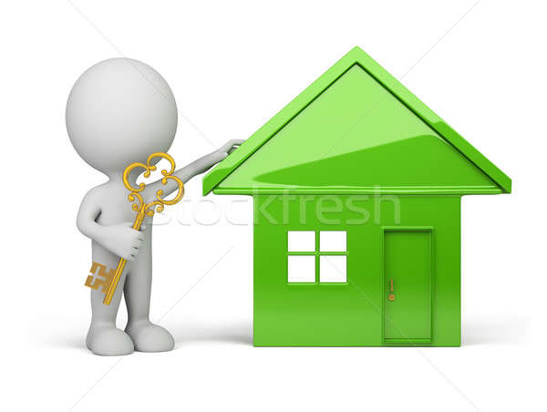 3d person - house and a golden key Stock photo © AlexMas