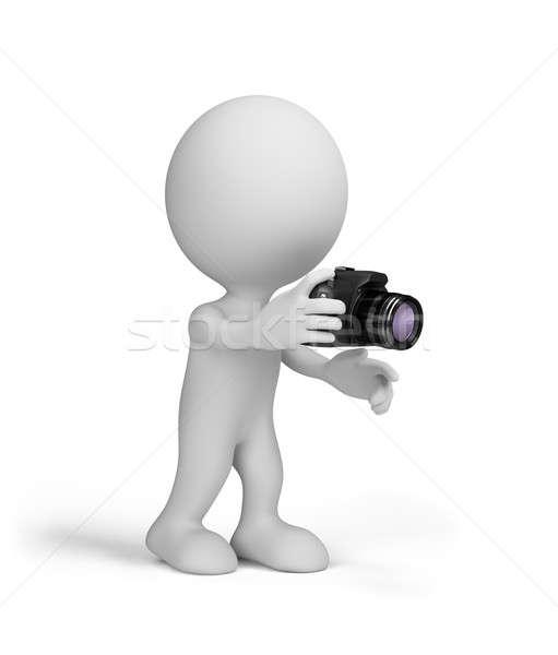 Uomo 3d fotocamera mani 3D immagine bianco Foto d'archivio © AlexMas
