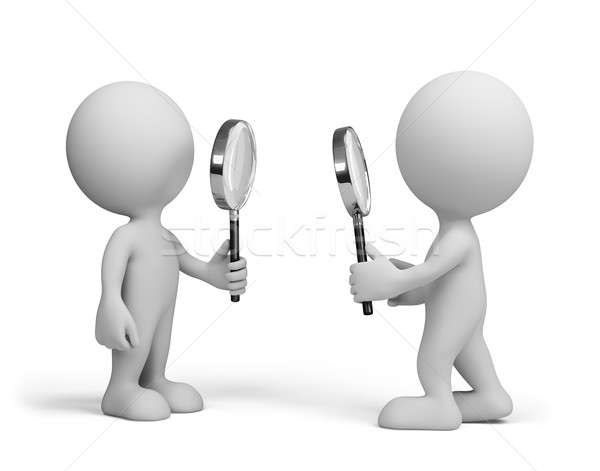 Two people with a magnifying glass Stock photo © AlexMas