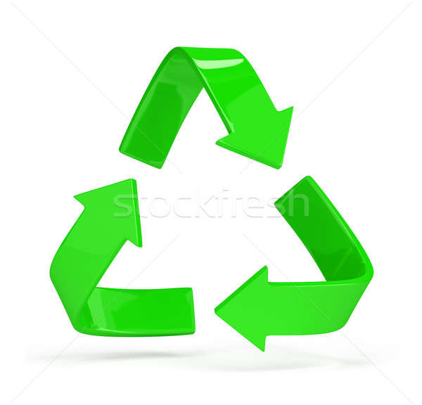 Logo recyclage vert symbole 3D Photo stock © AlexMas