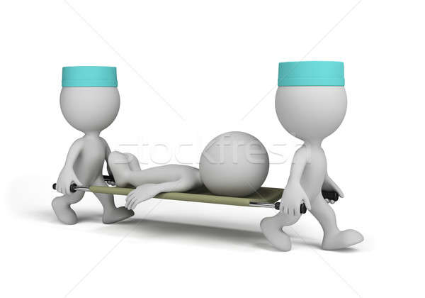 Two doctors with a patient on stretcher Stock photo © AlexMas