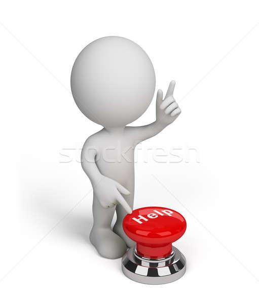 Pessoa 3d ajudar botão empurrando vermelho 3D Foto stock © AlexMas