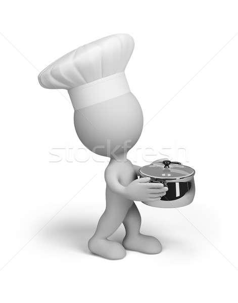 Pişirmek tava şef pişmiş yemek 3D Stok fotoğraf © AlexMas