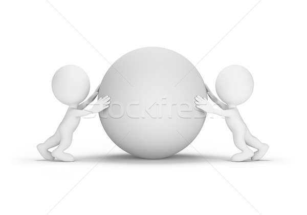 Twee mensen bol ander 3D afbeelding Stockfoto © AlexMas