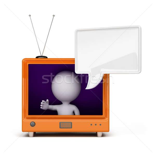 Foto d'archivio: 3d · persona · tv · guardando · fuori · schermo · retro