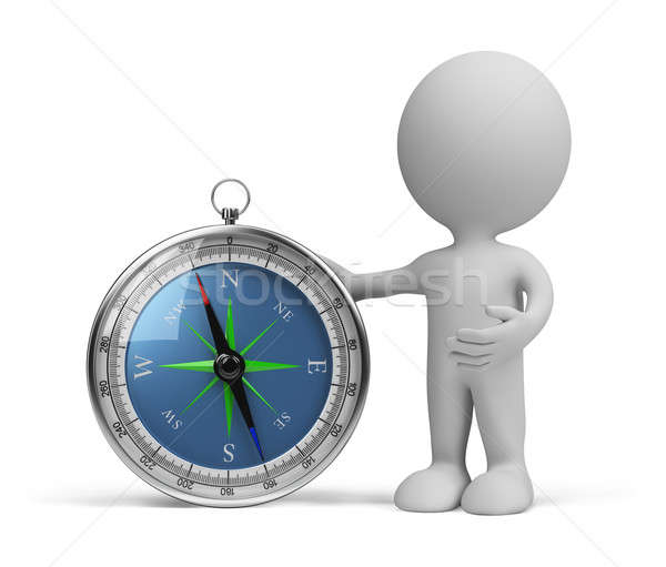 3d persoon kompas permanente 3D afbeelding witte Stockfoto © AlexMas