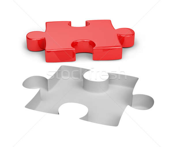 Rosso puzzle bianco 3D immagine abstract Foto d'archivio © AlexMas