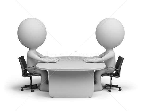 対話 二人 座って 表 話し 3D ストックフォト © AlexMas