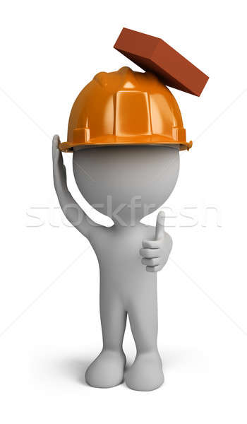 3 ª persona constructor hombre casco caer ladrillo Foto stock © AlexMas