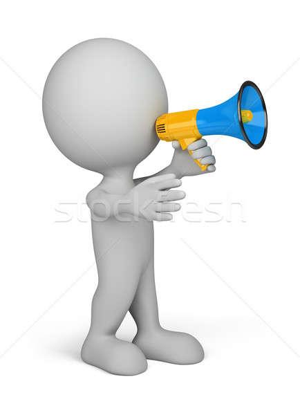 3 ª persona megáfono azul mano 3D imagen Foto stock © AlexMas
