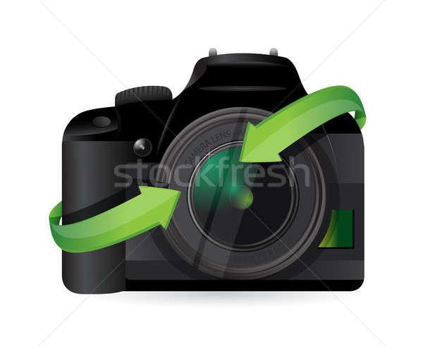 Printer pijlen illustratie ontwerp witte lichaam Stockfoto © alexmillos
