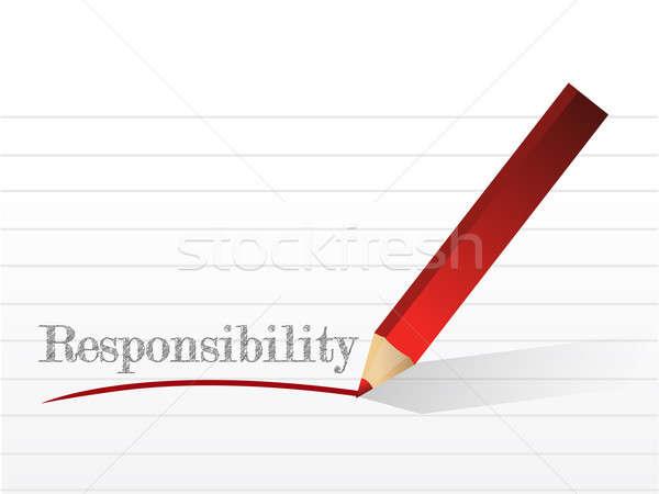 Odpowiedzialność wiadomość ilustracja projektu biały papieru Zdjęcia stock © alexmillos