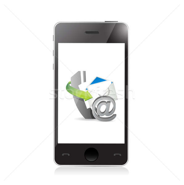 Ingesteld telefoon illustratie ontwerp witte Stockfoto © alexmillos