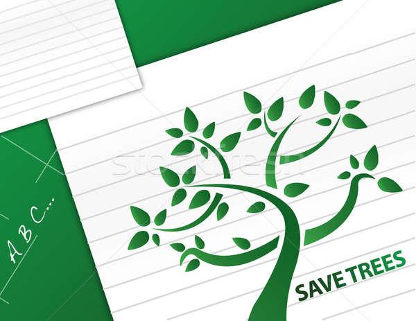 save trees illustration design background Stock photo © alexmillos