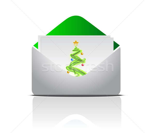 christmas postcard inside an envelope isolated over a white back Stock photo © alexmillos