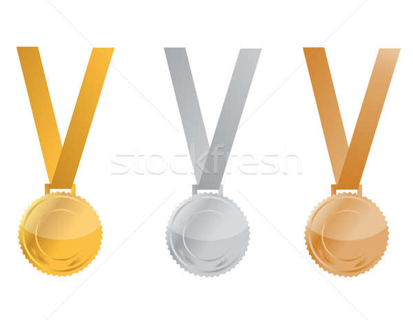 Three Medals of Achievement, gold, silver and bronze. inside are Stock photo © alexmillos