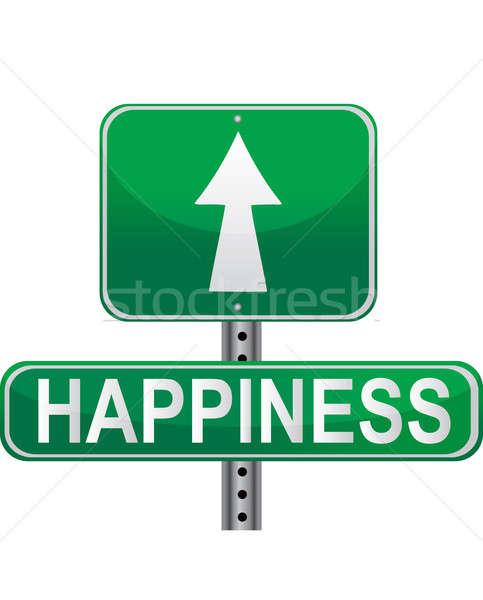 út boldogság zöld jelzőtábla izolált fehér Stock fotó © alexmillos