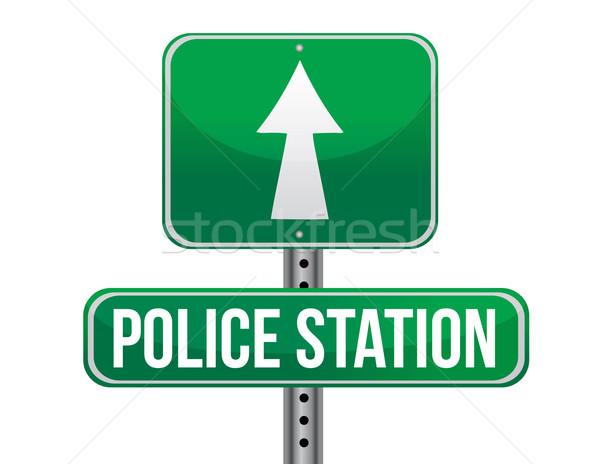 police station road sign illustration design over a white backgr Stock photo © alexmillos