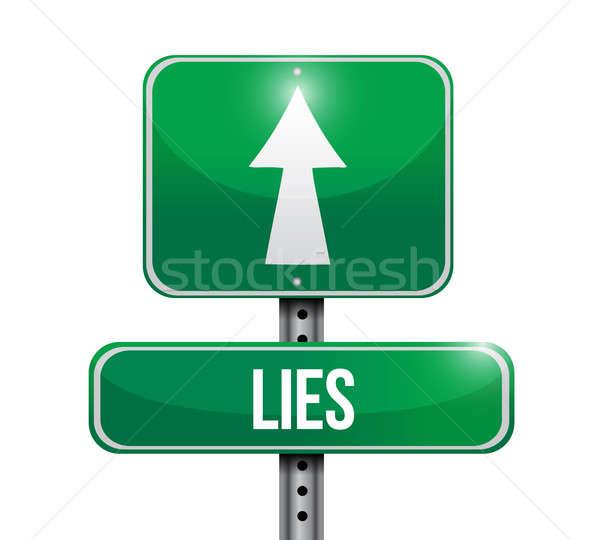lies road sign illustration design over white Stock photo © alexmillos