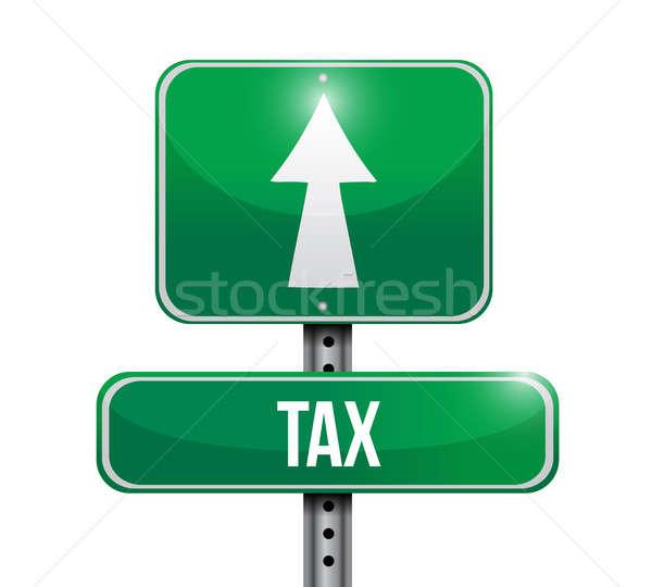 Сток-фото: налоговых · дорожный · знак · иллюстрация · дизайна · белый · небе