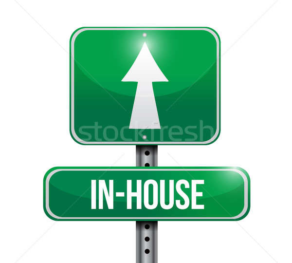 inhouse road sign illustration design over a white background Stock photo © alexmillos