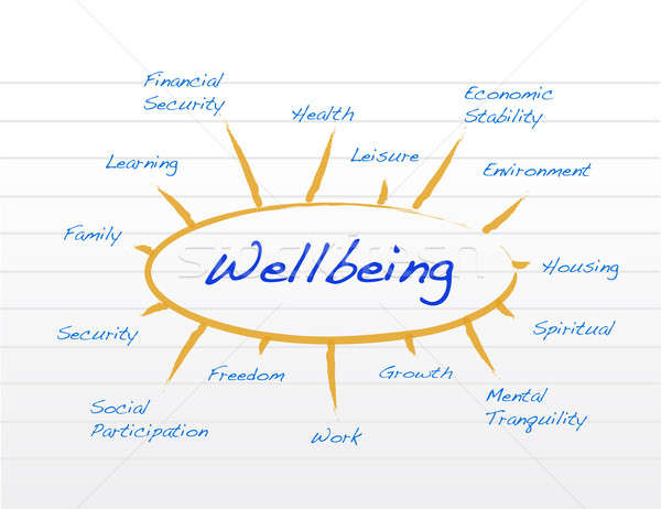 Diagram of wellbeing illustration design on a notepad Stock photo © alexmillos