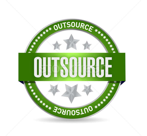 outsource seal stamp illustration design over a white background Stock photo © alexmillos