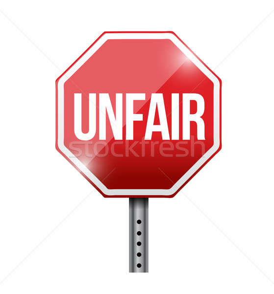 unfair red stop sign illustration design over a white background Stock photo © alexmillos