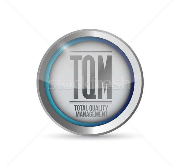 tqm total quality management button. isolated over white Stock photo © alexmillos