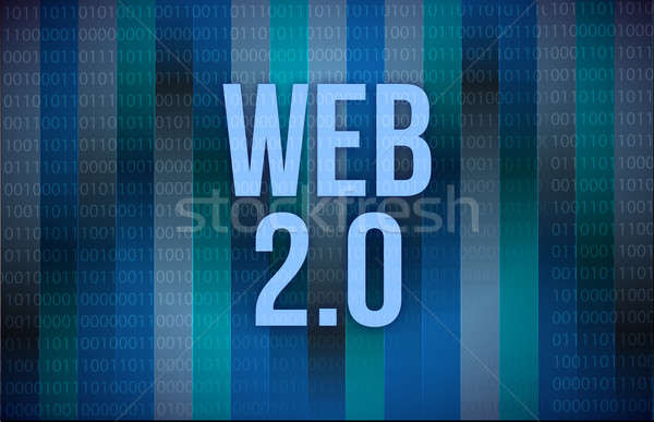 Web 20 texte code binaire bleu numérique Photo stock © alexmillos
