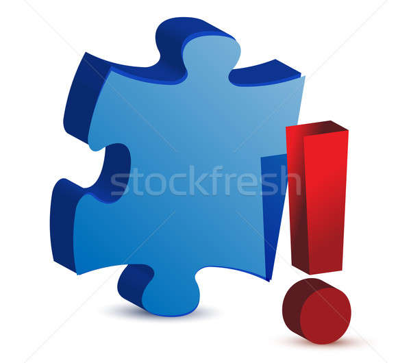 exclamation puzzle piece illustration design over white Stock photo © alexmillos