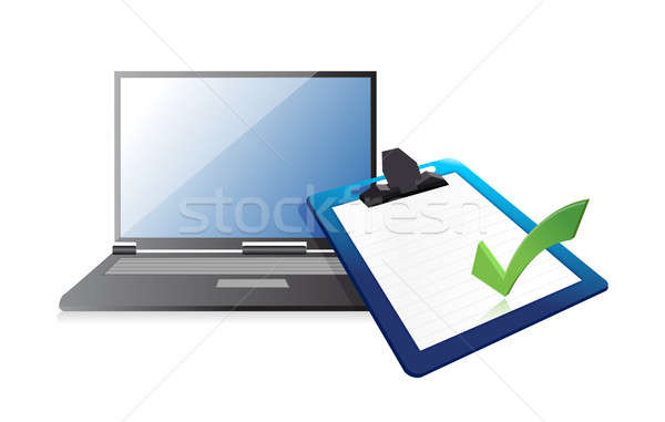 laptop and clipboard with checkmark illustration design over whi Stock photo © alexmillos